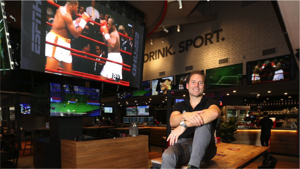 The Sporting Globe owner James Sinclair at his Westfield Chermside venue.
